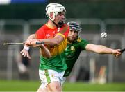 7 November 2020; Martin Kavanagh of Carlow in action against Shane Brennan of Meath during the Joe McDonagh Cup Round 3 match between Carlow and Meath at Netwatch Cullen Park in Carlow. Photo by Matt Browne/Sportsfile