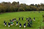 8 November 2020; Meath and Wicklow players warm-up before the Leinster GAA Football Senior Championship Quarter-Final match between Wicklow and Meath at the County Grounds in Aughrim, Wicklow. Photo by Matt Browne/Sportsfile