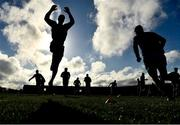 8 November 2020; Laois players warm up before the Leinster GAA Football Senior Championship Quarter-Final match between Longford and Laois at Glennon Brothers Pearse Park in Longford. Photo by Ray McManus/Sportsfile