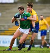 8 November 2020; Aidan O'Shea of Mayo in action against Seán Mullooly of Roscommon during the Connacht GAA Football Senior Championship Semi-Final match between Roscommon and Mayo at Dr Hyde Park in Roscommon. Photo by Ramsey Cardy/Sportsfile