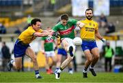 8 November 2020; Patrick Durcan of Mayo in action against Tadhg O'Rourke, left, and Donie Smith of Roscommon during the Connacht GAA Football Senior Championship Semi-Final match between Roscommon and Mayo at Dr Hyde Park in Roscommon. Photo by Ramsey Cardy/Sportsfile