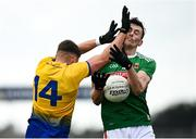 8 November 2020; Diarmuid O'Connor of Mayo in action against Conor Cox of Roscommon during the Connacht GAA Football Senior Championship Semi-Final match between Roscommon and Mayo at Dr Hyde Park in Roscommon. Photo by Harry Murphy/Sportsfile