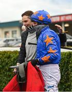 8 November 2020; Owner and trainer Ronan McNally, left, congratulates jockey Paul Townend after riding The Jam Man to victory in the Ladbrokes Troytown Handicap Steeplechase at Navan Racecourse in Meath. Photo by Seb Daly/Sportsfile
