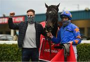 8 November 2020; Owner and trainer Ronan McNally, left, and jockey Paul Townend celebrate in the winners enclosure after sending out The Jam Man to win the Ladbrokes Troytown Handicap Steeplechase at Navan Racecourse in Meath. Photo by Seb Daly/Sportsfile