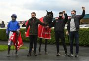 8 November 2020; Owner and trainer Ronan McNally, right, and jockey Paul Townend celebrate in the winners enclosure after sending out The Jam Man to win the Ladbrokes Troytown Handicap Steeplechase at Navan Racecourse in Meath. Photo by Seb Daly/Sportsfile