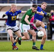 8 November 2020; Jordan Morris of Meath in action against Mark Kenny and Dean Healy of Wicklow during the Leinster GAA Football Senior Championship Quarter-Final match between Wicklow and Meath at the County Grounds in Aughrim, Wicklow. Photo by Matt Browne/Sportsfile