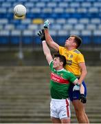 8 November 2020; Cillian O'Connor of Mayo in action against Enda Smith of Roscommon during the Connacht GAA Football Senior Championship Semi-Final match between Roscommon and Mayo at Dr Hyde Park in Roscommon. Photo by Ramsey Cardy/Sportsfile