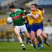 8 November 2020; Patrick Durcan of Mayo in action against Cathal Cregg of Roscommon during the Connacht GAA Football Senior Championship Semi-Final match between Roscommon and Mayo at Dr Hyde Park in Roscommon. Photo by Ramsey Cardy/Sportsfile