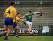 8 November 2020; Diarmuid O'Connor of Mayo shoots to score his side's first goal during the Connacht GAA Football Senior Championship Semi-Final match between Roscommon and Mayo at Dr Hyde Park in Roscommon. Photo by Ramsey Cardy/Sportsfile
