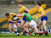 8 November 2020; Niall Kilroy of Roscommon, supported by Seán Mullooly, centre, and David Murray in action against Aidan O'Shea of Mayo during the Connacht GAA Football Senior Championship Semi-Final match between Roscommon and Mayo at Dr Hyde Park in Roscommon. Photo by Ramsey Cardy/Sportsfile