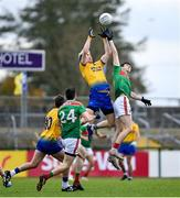 8 November 2020; Cathal Compton of Roscommon in action against Conor Loftus of Mayo during the Connacht GAA Football Senior Championship Semi-Final match between Roscommon and Mayo at Dr Hyde Park in Roscommon. Photo by Ramsey Cardy/Sportsfile
