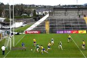 8 November 2020; Diarmuid O'Connor of Mayo shoots to score his side's first goal past Roscommon goalkeeper Colm Lavin during the Connacht GAA Football Senior Championship Semi-Final match between Roscommon and Mayo at Dr Hyde Park in Roscommon. Photo by Ramsey Cardy/Sportsfile