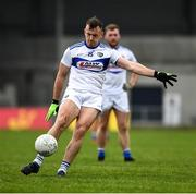 8 November 2020; Gary Walsh of Laois, kicks a point from a free, during the Leinster GAA Football Senior Championship Quarter-Final match between Longford and Laois at Glennon Brothers Pearse Park in Longford. Photo by Ray McManus/Sportsfile