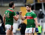 8 November 2020; Lee Keegan, right, and Aidan O'Shea of Mayo fist bump following the Connacht GAA Football Senior Championship Semi-Final match between Roscommon and Mayo at Dr Hyde Park in Roscommon. Photo by Harry Murphy/Sportsfile