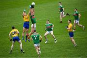 8 November 2020; Enda Smith of Roscommon in action against Aidan O'Shea of Mayo during the Connacht GAA Football Senior Championship Semi-Final match between Roscommon and Mayo at Dr Hyde Park in Roscommon. Photo by Ramsey Cardy/Sportsfile