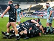 8 November 2020; James Tracy of Leinster, not pictured, is pushed over to score a try during the Guinness PRO14 match between Ospreys and Leinster at Liberty Stadium in Swansea, Wales. Photo by Chris Fairweather/Sportsfile