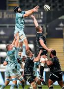 8 November 2020; Scott Fardy of Leinster wins posession in a line out during the Guinness PRO14 match between Ospreys and Leinster at Liberty Stadium in Swansea, Wales. Photo by Chris Fairweather/Sportsfile