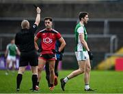 8 November 2020; Eoin Donnelly of Fermanagh leaves the field after being shown a black card by referee Barry Cassidy during the Ulster GAA Football Senior Championship Quarter-Final match between Fermanagh and Down at Brewster Park in Enniskillen, Fermanagh. Photo by Sam Barnes/Sportsfile