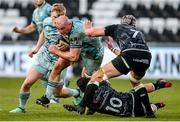 8 November 2020; Rhys Ruddock of Leinster is tackled by Josh Thomas and Dan Lydiate of Ospreys during the Guinness PRO14 match between Ospreys and Leinster at Liberty Stadium in Swansea, Wales. Photo by Chris Fairweather/Sportsfile