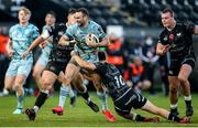 8 November 2020; Dave Kearney of Leinster is tackled by Joe Hawkins and Josh Thomas of Ospreys during the Guinness PRO14 match between Ospreys and Leinster at Liberty Stadium in Swansea, Wales. Photo by Chris Fairweather/Sportsfile