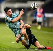 8 November 2020; Jimmy O'Brien of Leinster is tackled by Luke Morgan of Ospreys during the Guinness PRO14 match between Ospreys and Leinster at Liberty Stadium in Swansea, Wales. Photo by Chris Fairweather/Sportsfile