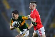 8 November 2020; Tony Brosnan of Kerry is tackled by Kevin Flahive of Cork  during the Munster GAA Football Senior Championship Semi-Final match between Cork and Kerry at Páirc Uí Chaoimh in Cork. Photo by Brendan Moran/Sportsfile
