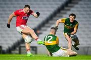 8 November 2020; Brian Hurley of Cork has a shot on goal blocked by Ronan Buckley of Kerry during the Munster GAA Football Senior Championship Semi-Final match between Cork and Kerry at Páirc Uí Chaoimh in Cork. Photo by Eóin Noonan/Sportsfile