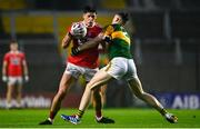 8 November 2020; Colm O'Callaghan of Cork is tackled by Jason Foley of Kerry during the Munster GAA Football Senior Championship Semi-Final match between Cork and Kerry at Páirc Uí Chaoimh in Cork. Photo by Eóin Noonan/Sportsfile