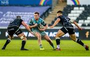 8 November 2020; Rory O'Loughlin of Leinster in action against Dan Lydiate, left, and Joe Hawkins of Ospreys during the Guinness PRO14 match between Ospreys and Leinster at Liberty Stadium in Swansea, Wales. Photo by Aled Llywelyn/Sportsfile