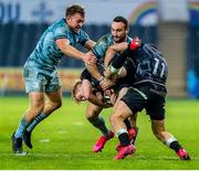 8 November 2020; Mat Protheroe of Ospreys, supported by team-mate Luke Morgan, is tackled by Liam Turner, left, and Dave Kearney of Leinster during the Guinness PRO14 match between Ospreys and Leinster at Liberty Stadium in Swansea, Wales. Photo by Aled Llywelyn/Sportsfile