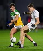 8 November 2020; Kevin Feely of Kildare in action against Cathal Mangan of Offaly during the Leinster GAA Football Senior Championship Quarter-Final match between Offaly and Kildare at MW Hire O'Moore Park in Portlaoise, Laois. Photo by Piaras Ó Mídheach/Sportsfile
