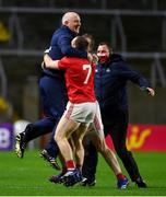 8 November 2020; Cork manager Ronan McCarthy celebrates with Mattie Taylor and Ruairi Deane at the final whistle after victory over Kerry in the Munster GAA Football Senior Championship Semi-Final match between Cork and Kerry at Páirc Uí Chaoimh in Cork. Photo by Brendan Moran/Sportsfile