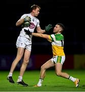 8 November 2020; Paul Cribbin of Kildare in action against Anton Sullivan of Offaly during the Leinster GAA Football Senior Championship Quarter-Final match between Offaly and Kildare at MW Hire O'Moore Park in Portlaoise, Laois. Photo by Piaras Ó Mídheach/Sportsfile
