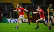 8 November 2020; Ruairi Deane and Mattie Taylor of Cork celebrate at the final whistle of the Munster GAA Football Senior Championship Semi-Final match between Cork and Kerry at Páirc Uí Chaoimh in Cork. Photo by Brendan Moran/Sportsfile