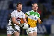 8 November 2020; Paul Cribbin of Kildare in action against Carl Stewart of Offaly during the Leinster GAA Football Senior Championship Quarter-Final match between Offaly and Kildare at MW Hire O'Moore Park in Portlaoise, Laois. Photo by Piaras Ó Mídheach/Sportsfile
