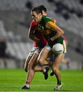 8 November 2020; David Clifford of Kerry is dispossessed by Tadhg Corkery of Cork during the Munster GAA Football Senior Championship Semi-Final match between Cork and Kerry at Páirc Uí Chaoimh in Cork. Photo by Brendan Moran/Sportsfile
