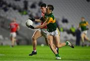8 November 2020; David Clifford of Kerry is tackled by Tadhg Corkery of Cork during the Munster GAA Football Senior Championship Semi-Final match between Cork and Kerry at Páirc Uí Chaoimh in Cork. Photo by Brendan Moran/Sportsfile