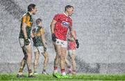 8 November 2020; Tadhg Morley of Kerry and Brian Hurley of Cork as heavy rain falls during the Munster GAA Football Senior Championship Semi-Final match between Cork and Kerry at Páirc Uí Chaoimh in Cork. Photo by Brendan Moran/Sportsfile