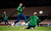 9 November 2020; Adam Idah has his shot saved by goalkeeper Darren Randolph during a Republic of Ireland training session at The Hive in Barnet, England. Photo by Stephen McCarthy/Sportsfile