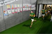8 November 2020; Paul Murphy of Kerry runs out of the players tunnel past portraits by Cork school children on the wall during the Munster GAA Football Senior Championship Semi-Final match between Cork and Kerry at Páirc Uí Chaoimh in Cork. Photo by Brendan Moran/Sportsfile