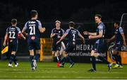 9 November 2020; Jesse Devers of Sligo Rovers, centre, celebrates with team-mates, including Lewis Banks, 2, after scoring his side's first goal during the SSE Airtricity League Premier Division match between Dundalk and Sligo Rovers at Oriel Park in Dundalk, Louth. Photo by Sam Barnes/Sportsfile