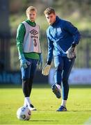 10 November 2020; Mark Travers, right, and Caoimhin Kelleher during a Republic of Ireland training session at The Hive in London, England. Photo by Stephen McCarthy/Sportsfile
