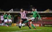 9 November 2020; Cian Coleman of Cork City in action against Joe Thomson of Derry City during the SSE Airtricity League Premier Division match between Cork City and Derry City at Turners Cross in Cork. Photo by Eóin Noonan/Sportsfile