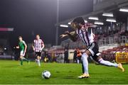 9 November 2020; Walter Figueira of Derry City in action against Alec Byrne of Cork City during the SSE Airtricity League Premier Division match between Cork City and Derry City at Turners Cross in Cork. Photo by Eóin Noonan/Sportsfile