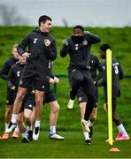 11 November 2020; Thomas O'Connor, left, and Michael Obafemi during a Republic of Ireland U21 training session at the FAI National Training Centre in Abbotstown, Dublin. Photo by Seb Daly/Sportsfile