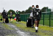 11 November 2020; Michael Obafemi arrives prior to a Republic of Ireland U21 training session at the FAI National Training Centre in Abbotstown, Dublin. Photo by Seb Daly/Sportsfile