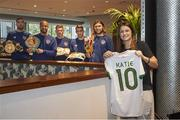 11 November 2020; Boxer Katie Taylor with members of the Republic of Ireland team, from left, Shane Duffy, Darren Randolph, James McClean, Seamus Coleman and Jeff Hendrick at their Wembley hotel in London, England. Photo by Mark Robinson / Matchroom Boxing via Sportsfile