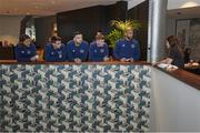 11 November 2020; Boxer Katie Taylor with members of the Republic of Ireland team, from left, Jeff Hendrick, Seamus Coleman, Shane Duffy, James McClean and Darren Randolph at their Wembley hotel in London, England. Photo by Mark Robinson / Matchroom Boxing via Sportsfile