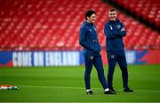 11 November 2020; Manager Stephen Kenny, right, and Republic of Ireland coach Keith Andrews during a Republic of Ireland training session at Wembley Stadium in London, England. Photo by Stephen McCarthy/Sportsfile