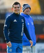 12 November 2020; Hugh O'Sullivan with backs coach Felipe Contepomi, right, during a Leinster Rugby squad training session at the RDS Arena in Dublin. Photo by Brendan Moran/Sportsfile